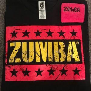 Tops - NWOT Zumba t shirt and sweat band